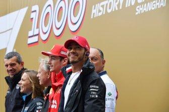 Guenther Steiner, director de Haas F1, Claire Williams, directora Williams Racing, Gene Haas, propietario y fundador de Haas F1, Charles Leclerc, Ferrari, Frederic Vasseur, director de Alfa Romeo Racing, y Lewis Hamilton, Mercedes AMG F1