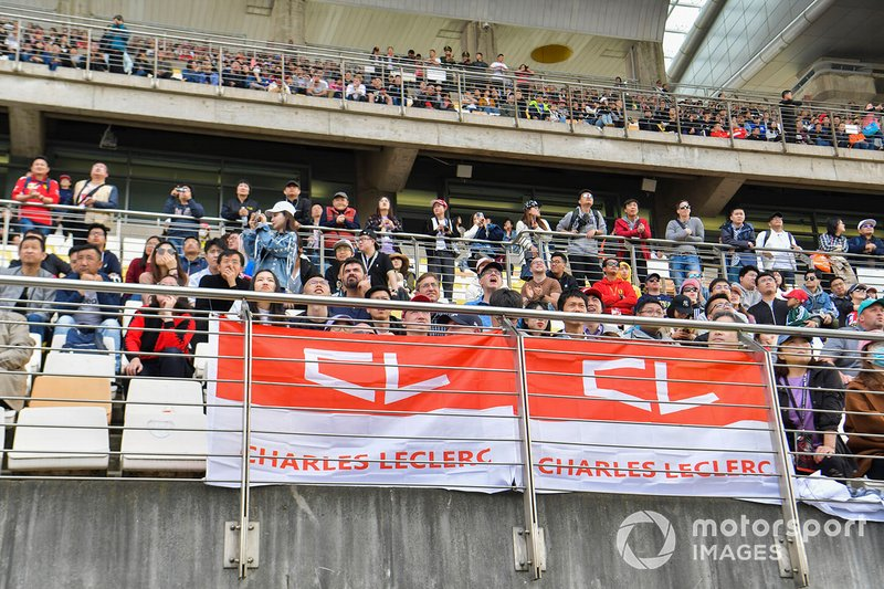 Crowd support for Charles Leclerc, Ferrari