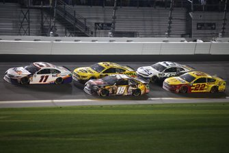 Denny Hamlin, Joe Gibbs Racing, Toyota Camry FedEx Express Kyle Busch, Joe Gibbs Racing, Toyota Camry M&M's Chocolate Bar Michael McDowell, Front Row Motorsports, Ford Mustang Love's Travel Stops Ty Dillon, Germain Racing, Chevrolet Camaro GEICO Joey Logano, Team Penske, Ford Mustang Shell Pennzoil