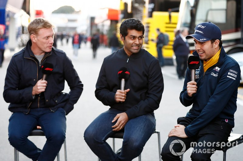 Simon Lazenby, Sky TV, Karun Chandhok, Sky TV y Sergio Pérez, SportPesa Racing Point F1 Team