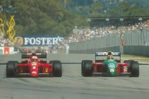 Nelson Piquet, Benetton; Nigel Mansell, Ferrari