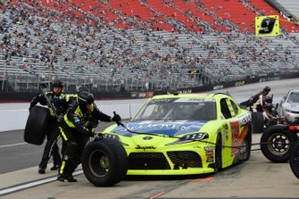 Brandon Jones, Joe Gibbs Racing, Toyota Supra Menards/Jeld-Wen, makes a pit stop.
