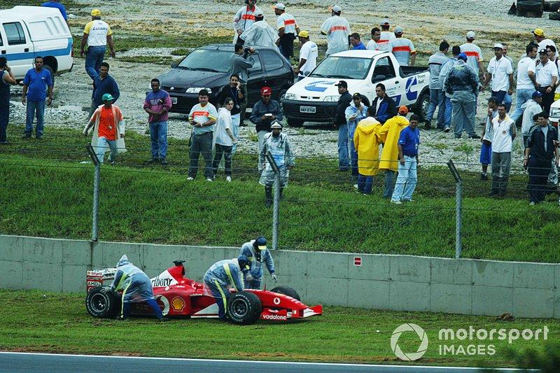 Rubens Barrichello, Ferrari F2002, contraint à l'abandon alors qu'il était leader