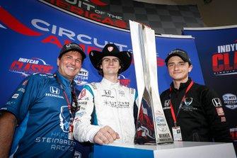 Mike Harding, Colton Herta, Harding Steinbrenner Racing Honda, George Michael Steinbrenner, sur le podium
