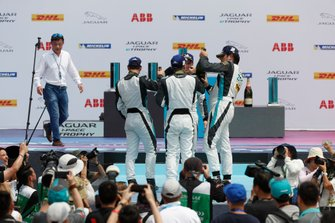 Bryan Sellers, Rahal Letterman Lanigan Racing, Yaqi Zhang, Team China, Simon Evans, Team Asia New Zealand, Cacá Bueno, Jaguar Brazil Racing, celebrate on the podium
