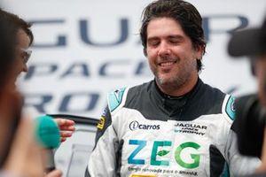 Cacá Bueno, Jaguar Brazil Racing, celebrates his maiden victory
