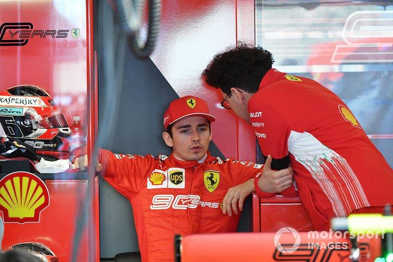Charles Leclerc, Ferrari, and Mattia Binotto, Team Principal Ferrari