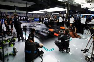 Valtteri Bottas, Mercedes AMG W10, leaves the garage