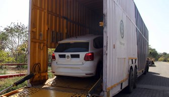 Volkswagen India track-only car getting loaded