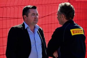 Eric Boullier and Mario Isola, Racing Manager, Pirelli Motorsport