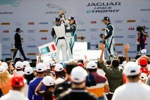 Teammates Katherine Legge, Rahal Letterman Lanigan Racing, Bryan Sellers, Rahal Letterman Lanigan Racing celebrates their 1-2 on the podium