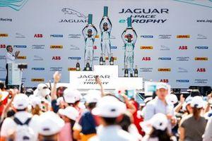 The PRO class podium: Katherine Legge, Rahal Letterman Lanigan Racing, Bryan Sellers, Rahal Letterman Lanigan Racing, Sérgio Jimenez, Jaguar Brazil Racing