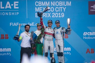 Podium group photo: Lucas di Grassi's race engineer Markus Michelberger, Audi Sport ABT Schaeffler, Antonio Felix da Costa, BMW I Andretti Motorsports, 2nd position, race winner Lucas Di Grassi, Audi Sport ABT Schaeffler, Edoardo Mortara, Venturi Formula E, 3rd position