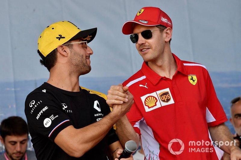 Daniel Ricciardo, Renault, Sebastian Vettel, Ferrari