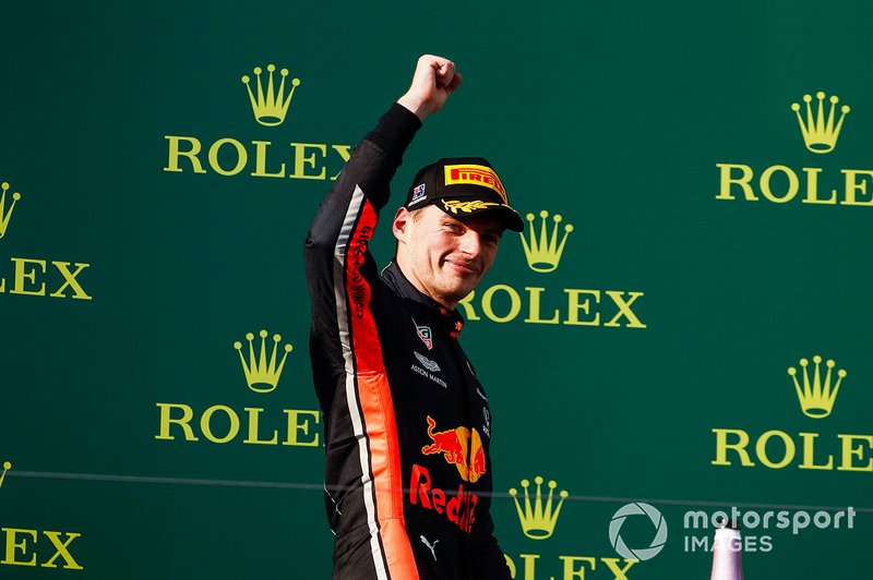 Max Verstappen, Red Bull Racing, terzo, sul podio