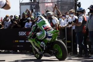 Jonathan Rea, Kawasaki Racing Team WorldSBK skids into parc ferme