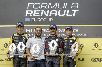 Podium: Race winner Yifei Ye, Josef Kaufmann Racing, second place Christian Lundgaard, MP motorsport, third place Max Fewtrell, R-Ace Gp