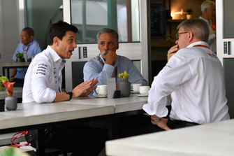 Toto Wolff, Mercedes AMG F1 Director of Motorsport, Chase Carey, Chief Executive Officer and Executive Chairman of the Formula One Group and Ross Brawn, Formula One Managing Director of Motorsports