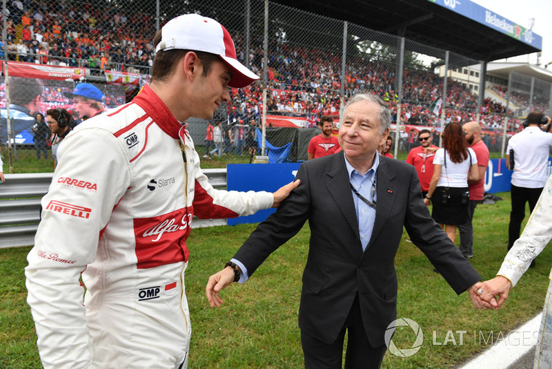 Charles Leclerc, Alfa Romeo Sauber F1 Team on the grid with Jean Todt, FIA President