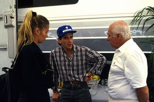 Ayrton Senna, McLaren, with his girlfriend Adrianne Galisteu