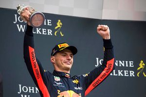 Max Verstappen, Red Bull Racing, 3rd position, with his trophy
