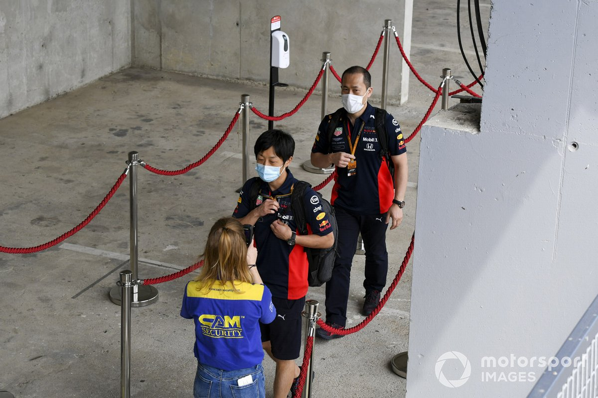 Red Bull Racing engineers arrive and are heat checked
