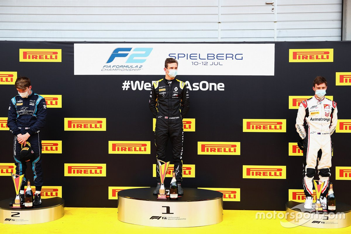 Podio: Christian Lundgaard, ART Grand Prix, Dan Ticktum, DAMS, third Marcus Armstrong, ART Grand Prix