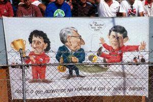 Banner mit Alain Prost, Jean-Marie Balestre und Ayrton Senna