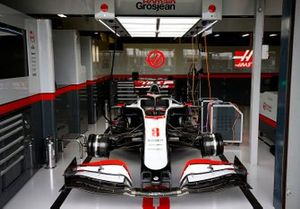 Romain Grosjean's Haas VF-20 in the garage