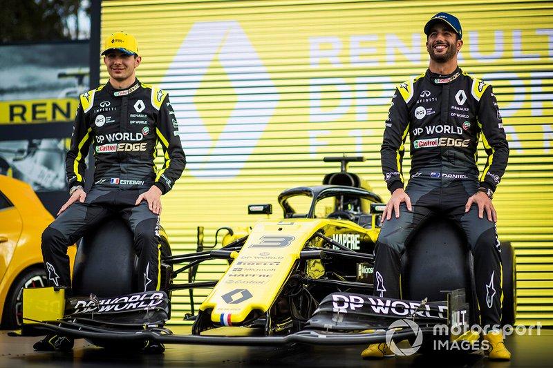Esteban Ocon, Renault F1 Team y Daniel Ricciardo, Renault F1 Team