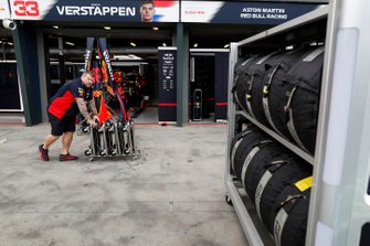 Red Bull Racing team members at work