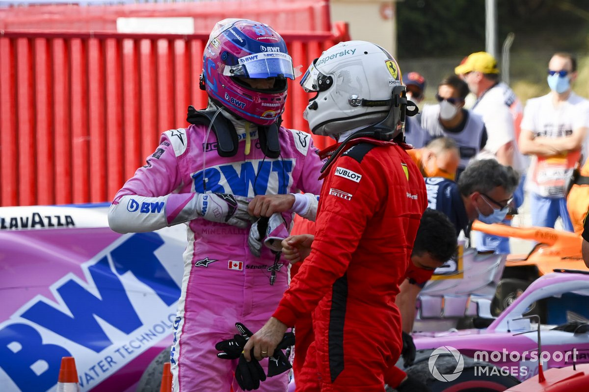 Lance Stroll, Racing Point, y Sebastian Vettel, Ferrari