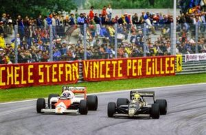 Ayrton Senna, Lotus 97T Renault, y Alain Prost, McLaren MP4-2B TAG