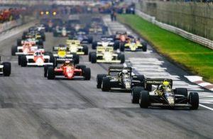 Ayrton Senna, Lotus 97T Renault, Elio de Angelis, Lotus 97T Renault, Michele Alboreto, Ferrari 156/85, al inicio