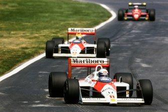 Alain Prost, McLaren MP4-4 Honda, Ayrton Senna, McLaren MP4-4 Honda, Gerhard Berger, Ferrari F1/87-88C