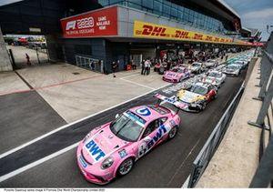 Porsche Supercup cars in pitlane