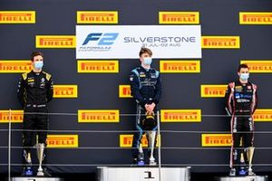 Christian Lundgaard, ART Grand Prix, race winner Dan Ticktum, Dams and Louis Deletraz, Charouz Racing System on the podium
