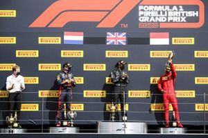 Max Verstappen, Red Bull Racing, Race Winner Lewis Hamilton, Mercedes-AMG F1 and Charles Leclerc, Ferrari celebrate on the podium