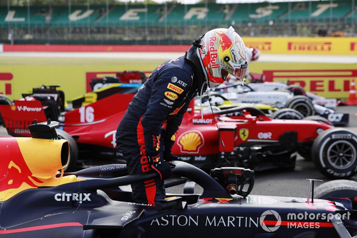 Segundo lugar Max Verstappen, Red Bull Racing, en parc ferme