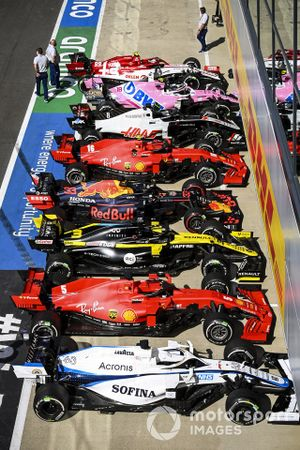 The cars of George Russell, Williams FW43, Sebastian Vettel, Ferrari SF1000, Daniel Ricciardo, Renault F1 Team R.S.20, Max Verstappen, Red Bull Racing RB16, Charles Leclerc, Ferrari SF1000, Romain Grosjean, Haas VF-20, Lance Stroll, Racing Point RP20, and Antonio Giovinazzi, Alfa Romeo Racing C39, in Parc Ferme