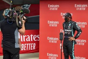 Lewis Hamilton, Mercedes AMG F1, is interviewed
