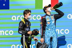 Race Winner Oscar Piastri, Prema Racing And Matteo Nannini, Jenzer Motorsport on the podium