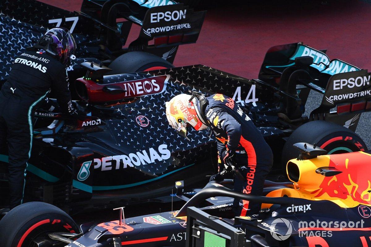 Tercero Max Verstappen, Red Bull Racing, en Parc Ferme