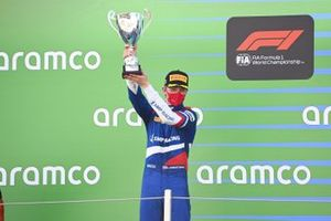 Robert Shwartzman, Prema Racing, 2nd position, on the podium with his trophy