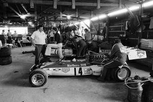 Communal indoor working facilities for the teams. BRM team Manager Tim Parnell talks to new BRM designer Mike Pilbeam