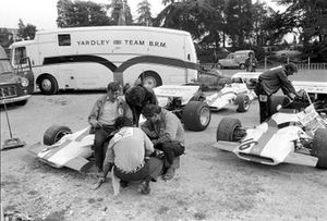 Yardley BRM cars in very basic paddock