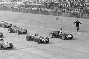 Stirling Moss, Cooper T51 Climax, Jack Brabham, Cooper T51 Climax, Harry Schell, Cooper T51 Climax