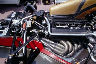 Engine and rear suspension detail in a Ferrari F92A