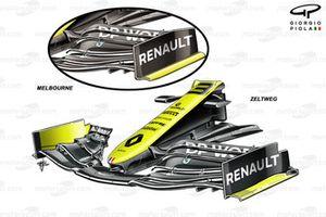 Contronto tra l'ala anteriore della Renault F1 Team R.S.20, portata in Australia e quella nuova in Austria