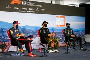 Max Verstappen, Red Bull Racing, Lewis Hamilton, Mercedes-AMG Petronas F1 and Valtteri Bottas, Mercedes-AMG Petronas F1 in the press conference
